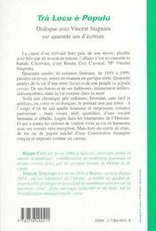 Tra Locu E Populu ; Dialogue Avec Vincent Stagnara Sur Quarante Ans D'Ecriture - 4ème de couverture - Format classique