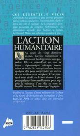 L'action humanitaire - 4ème de couverture - Format classique