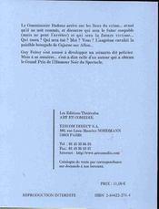 Commissaire badouz ; comedie en sept tableaux - 4ème de couverture - Format classique