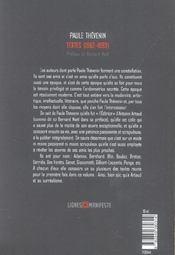 Textes, 1962-1993 - 4ème de couverture - Format classique
