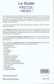 Le Guide Presse News ; Le Guide Des 1000 Principaux Titres De La Presse Francaise - 4ème de couverture - Format classique