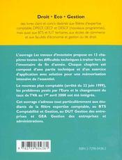 Comptabilite Les Travaux D'Inventaire - 4ème de couverture - Format classique