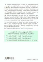Epreuves Corrigees D'Examens Et De Partiels Filieres Du Deug A (Mias Sm..) 2e Annee - 4ème de couverture - Format classique