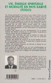 Vie, Energie Spirituelle Et Moralite En Pays Kabiye, Togo - 4ème de couverture - Format classique
