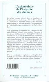 L'Axiomatique De L'Inegalite Des Chances - 4ème de couverture - Format classique