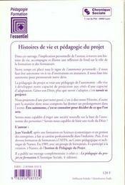 Histoires De Vie Et Pedagogie Du Projet 3eme Edition - 4ème de couverture - Format classique