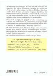 Epreuves Corrigees D'Examens Et De Partiels Filieres Du Deug B (Sv St Sciences Eco..) 1re Annee - 4ème de couverture - Format classique
