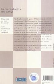 La guerre d'algerie (1954-1962) - 4ème de couverture - Format classique