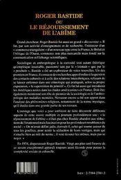 Roger Bastide Ou Le Rejouissement De L'Abime - 4ème de couverture - Format classique