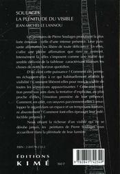 Soulages La Plenitude Du Visible - 4ème de couverture - Format classique