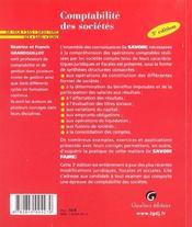 Comptabilite Des Societes - 4ème de couverture - Format classique