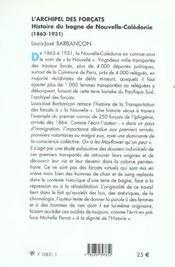 L'Archipel Des Forcats - 4ème de couverture - Format classique