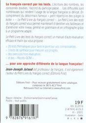 Le petit livre des tests du francais correct - 4ème de couverture - Format classique