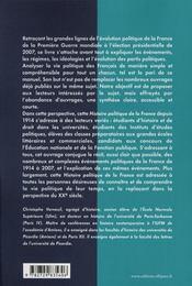 Histoire Politique De La France 1914-2007 Classes Preparatoires Iep Universite - 4ème de couverture - Format classique