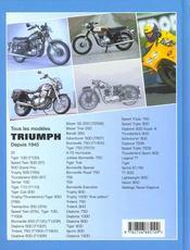 Triumph ; tous les modeles depuis 1945 - 4ème de couverture - Format classique