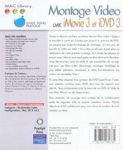Montage video avec imovie3 et idvd3 - 4ème de couverture - Format classique