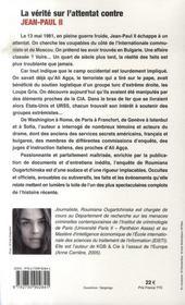 La vérité sur l'attentat contre jean-paul II - 4ème de couverture - Format classique