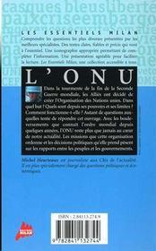 L'onu - 4ème de couverture - Format classique