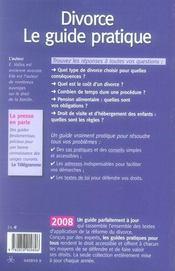 Divorce le guide pratique (édition 2008) - 4ème de couverture - Format classique