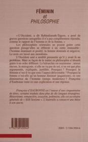Féminin et philosophie (une allergie historique) - 4ème de couverture - Format classique