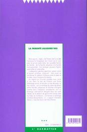 Societes Contemporaines N.38 ; La Parenté Aujourd'Hui - 4ème de couverture - Format classique