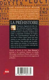La prehistoire - 4ème de couverture - Format classique