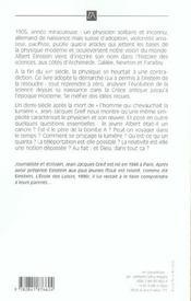 Einstein, L'Homme Qui Chevauchait La Lumiere - 4ème de couverture - Format classique