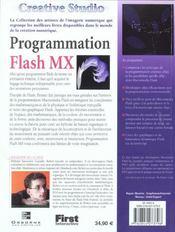 Creative studio : flash mx - 4ème de couverture - Format classique