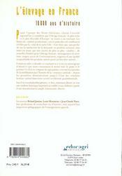 Elevage En France : 10 000 Ans D'Histoire (L') - 4ème de couverture - Format classique