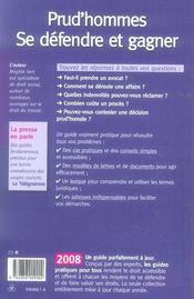 Prud'homme : se défendre et gagner (édition 2008) - 4ème de couverture - Format classique