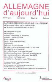 Revue Allemagne D'Aujourd'Hui ; La Recherche Française Sur L'Allemagne Et La Coopération Franco-Allemande En Sciences Humaines - Intérieur - Format classique