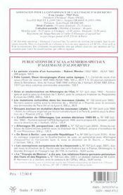 Revue Allemagne D'Aujourd'Hui ; La Recherche Française Sur L'Allemagne Et La Coopération Franco-Allemande En Sciences Humaines - 4ème de couverture - Format classique