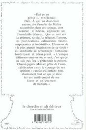 Dali Pensees Et Anecdotes - 4ème de couverture - Format classique