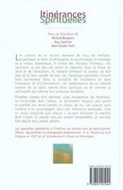 Itinerances spirituelles - 4ème de couverture - Format classique