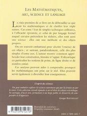 Les Mathematiques Art Science Et Langage No22 - 4ème de couverture - Format classique