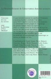Le renouvellement de l'observation dans les sciences - 4ème de couverture - Format classique