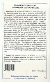 Eloignement Conjugal Et Construction Identitaire ; Le Cas Des Femmes De Marins - 4ème de couverture - Format classique