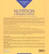 Nutrition Et Performances Sportives - 4ème de couverture - Format classique