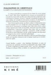 Philosophie Ou Libertinage - 4ème de couverture - Format classique