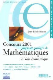 Mathematiques Concours 2001 ; Sujets Et Corriges - Intérieur - Format classique