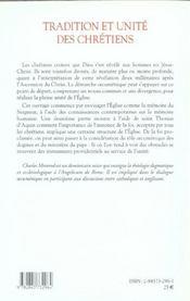 Tradition et unite des chretiens - 4ème de couverture - Format classique