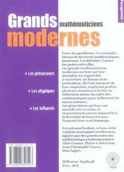 Grands Mathematiciens Modernes - 4ème de couverture - Format classique