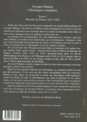 Chroniques completes t.1 ; mercure de france, 1911-1923 - 4ème de couverture - Format classique