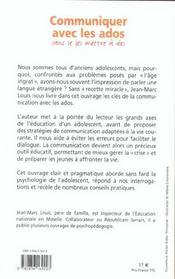Communiquer Avec Les Ados... Sans Se Les Mettre A Dos ! - 4ème de couverture - Format classique