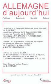 Revue, Allemagne D'Aujourd'Hui N 163 - Intérieur - Format classique