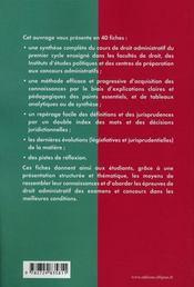 Droit administratif en fiches - 4ème de couverture - Format classique