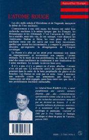 L'Atome Rouge ; Le Nucleaire Sovietique Et Russe - 4ème de couverture - Format classique