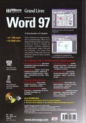 Grand Livre Word 97 - 4ème de couverture - Format classique