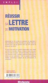 Réussir sa lettre de motivation ; rédiger des lettres de motivation efficaces - 4ème de couverture - Format classique