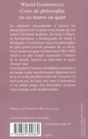 Cours de philosophie en six heures un quart - 4ème de couverture - Format classique